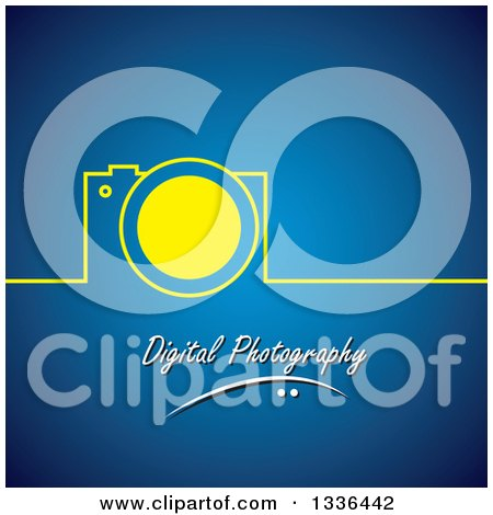 Clipart of a Yellow Camera and Line over Digital Photography Text on Blue - Royalty Free Vector Illustration by ColorMagic