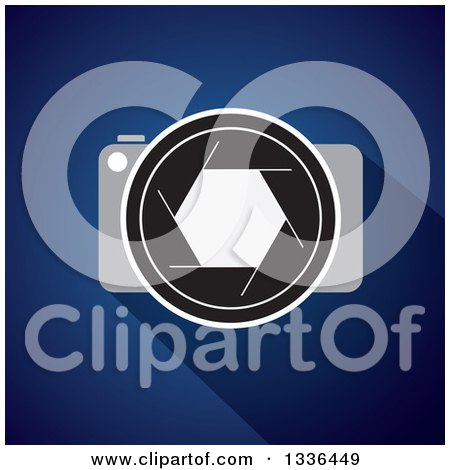 Clipart of a DSLR Camera, Lens and Shutter over Blue - Royalty Free Vector Illustration by ColorMagic