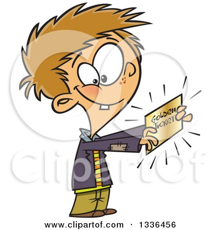 Clipart of a Cartoon Happy Boy, Charlie, Holding a Golden Ticket - Royalty Free Vector Illustration by toonaday