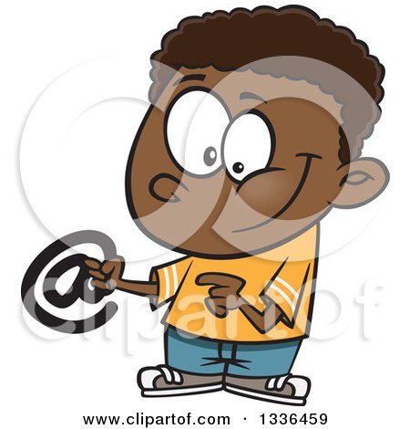 Clipart of a Cartoon Black Boy Holding an Email Arobase at Symbol - Royalty Free Vector Illustration by toonaday