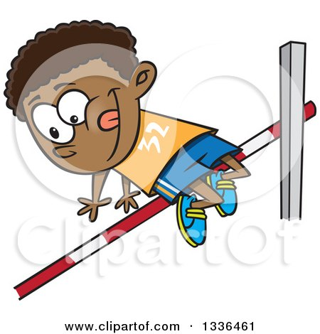 Clipart of a Cartoon Black Boy Doing a Track and Field High Jump - Royalty Free Vector Illustration by toonaday