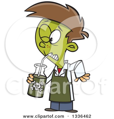 Clipart of a Cartoon Boy Turning Green and Drinking a Poisonous Concoction - Royalty Free Vector Illustration by toonaday