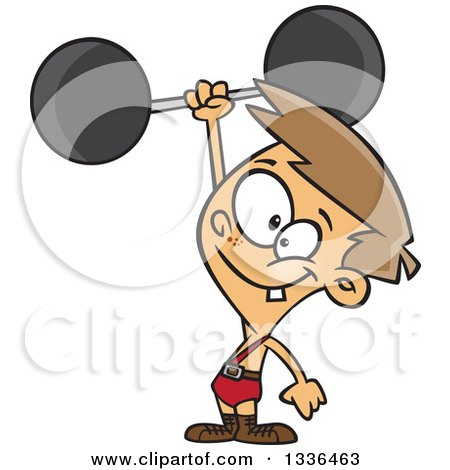 Clipart of a Cartoon Caucasian Strong Boy Holding up a Barbell One Handed - Royalty Free Vector Illustration by toonaday