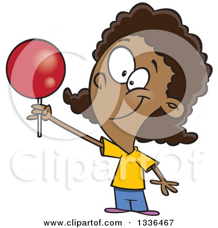 Clipart Of A Cartoon Happy Black Girl Holding Up A Loli Pop Royalty Free Vector Illustration