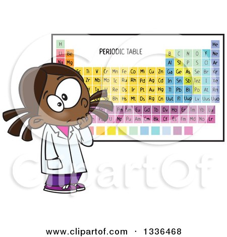 Clipart of a Cartoon African American School Girl Studying the Periodic Table of Elements - Royalty Free Vector Illustration by toonaday