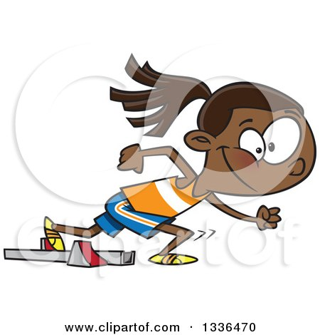 Clipart of a Cartoon Black Track and Field Girl Taking off for a Sprint - Royalty Free Vector Illustration by toonaday