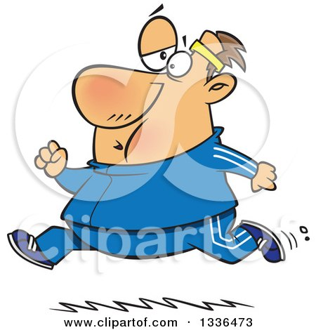 Clipart of a Cartoon Chubby Determined Caucasian Man Running in a Track Suit - Royalty Free Vector Illustration by toonaday