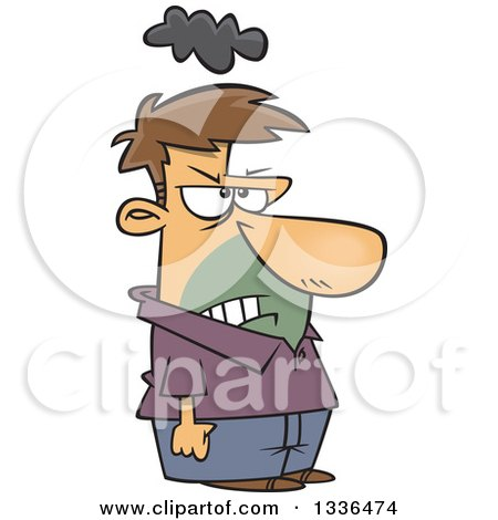 Clipart Of A Cartoon Short Grumpy Caucasian Man With A Cloud Over His Head And Clenched Fists Royalty Free Vector Illustration