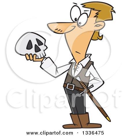 Clipart of a Cartoon Man, Hamlet, Holding a Skull - Royalty Free Vector Illustration by toonaday