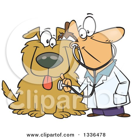 Clipart of a Cartoon Happy Caucasian Male Veterinarian Using a Stethoscope on a Big Dog - Royalty Free Vector Illustration by toonaday