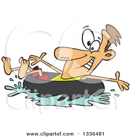 Clipart of a Cartoon Caucasian Man Swimming and Inner Tubing - Royalty Free Vector Illustration by toonaday