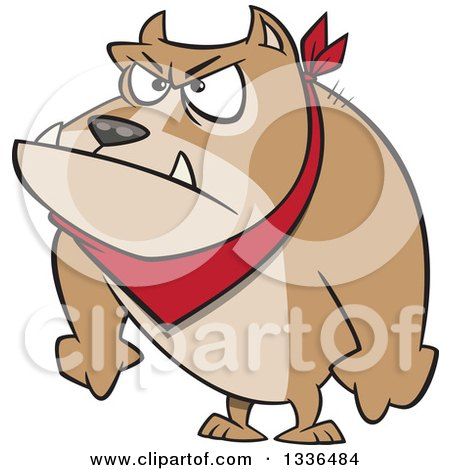 Clipart of a Cartoon Angry Pit Bull Dog with His Paws in Fists - Royalty Free Vector Illustration by toonaday