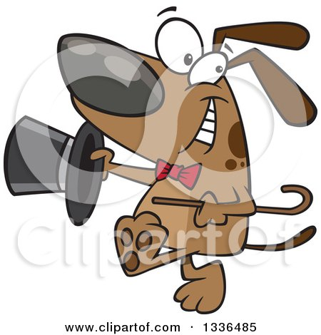 Clipart of a Cartoon Soft Shoe Tap Dance Dog - Royalty Free Vector Illustration by toonaday