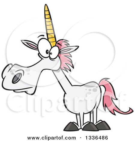 Clipart of a Cartoon White Unicorn with Pink Hair - Royalty Free Vector Illustration by toonaday