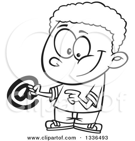 Lineart Clipart of a Cartoon Black and White African American Boy Holding an Email Arobase at Symbol - Royalty Free Outline Vector Illustration by toonaday