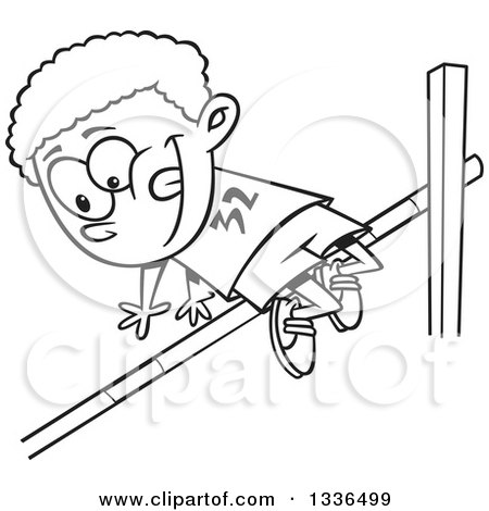 Lineart Clipart of a Cartoon Black and White African American Boy Doing a Track and Field High Jump - Royalty Free Outline Vector Illustration by toonaday