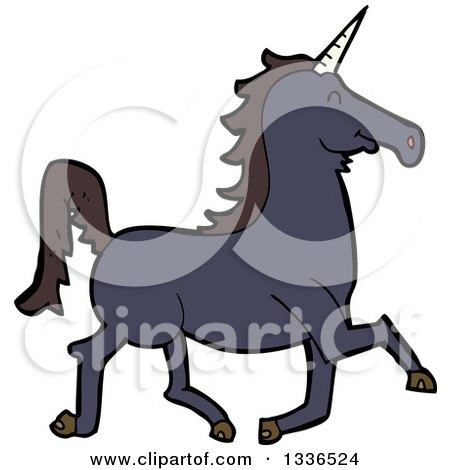 Clipart of a Cartoon Black Unicorn Running - Royalty Free Vector Illustration by lineartestpilot
