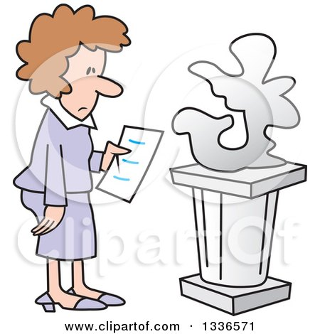 Clipart of a Cartoon Brunette Caucasian Woman Looking at an Abstract Art Sculpture in a Gallery - Royalty Free Vector Illustration by Johnny Sajem