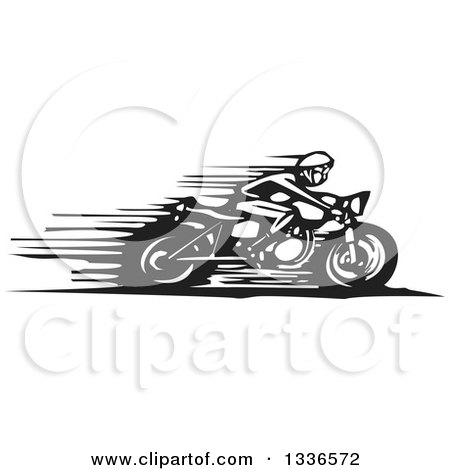 Clipart of a Black and White Woodcut Cafe Racer Biker Speeding on a Motorcycle - Royalty Free Vector Illustration by xunantunich