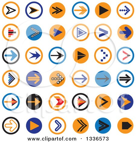 Clipart of Flat Style Arrow Round App Icon Button Design Elements - Royalty Free Vector Illustration by ColorMagic