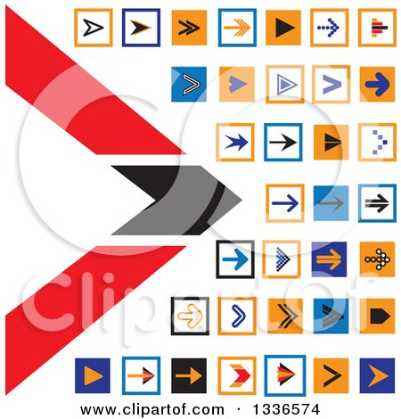 Clipart of Flat Style Square Arrow App Icon Button Design Elements - Royalty Free Vector Illustration by ColorMagic