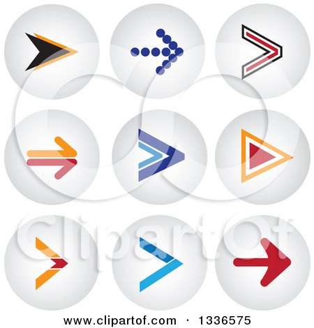 Clipart of Arrow and Shaded Orb Round App Icon Button Design Elements - Royalty Free Vector Illustration by ColorMagic