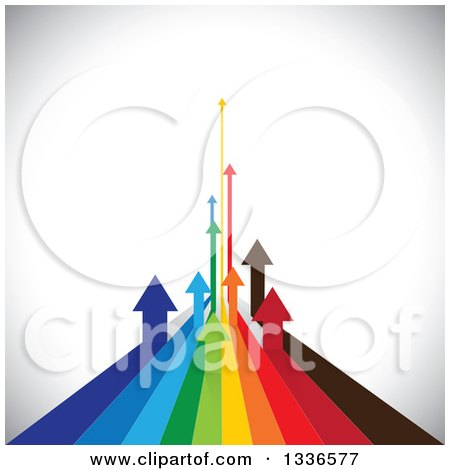 Clipart of Colorful Arrow Paths Curving Upwards in the Distance, over Shading - Royalty Free Vector Illustration by ColorMagic