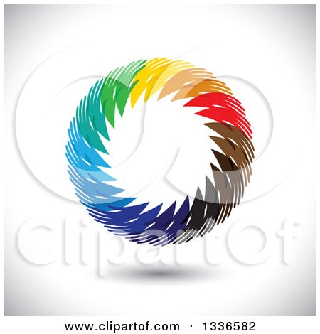 Clipart of a Colorful Circle Logo of Diverse Hands over Shading - Royalty Free Vector Illustration by ColorMagic