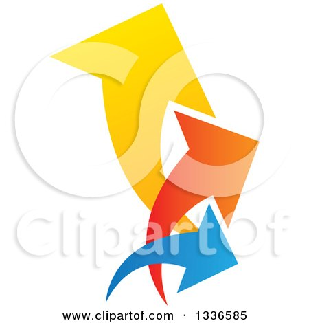 Clipart of a Colorful Trio Logo of Arrows Pointing up and to the Right - Royalty Free Vector Illustration by ColorMagic