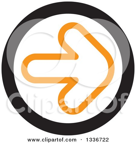 Clipart of a Flat Style Orange White and Black Arrow Round App Icon Button Design Element 2 - Royalty Free Vector Illustration by ColorMagic