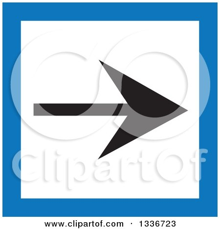 Clipart of a Flat Style Blue Black and White Square Arrow App Icon Button Design Element - Royalty Free Vector Illustration by ColorMagic