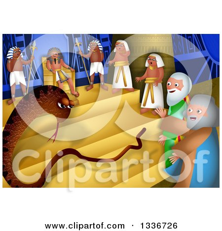 Clipart of a Passover Scene of Arrons Rod Changing into a Snake Before the Pharaoh - Royalty Free Illustration by Prawny