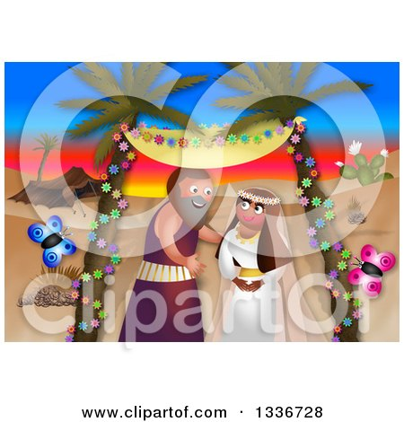 Clipart of a Passover Scene of Moses Marrying Against a Desert Sunset - Royalty Free Illustration by Prawny