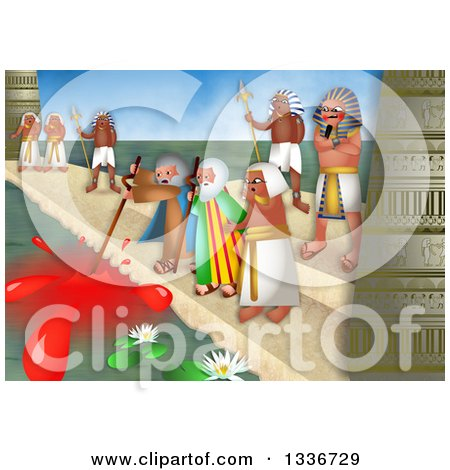 Clipart of a Passover Scene of the Plague of Blood - Royalty Free Illustration by Prawny
