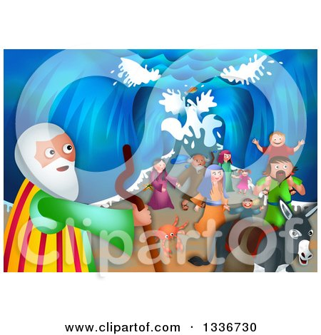 Clipart of a Shavout Scene of Moses, a Donkey and People of Israel Emerging from the Other Side of the Parted Sea - Royalty Free Illustration by Prawny