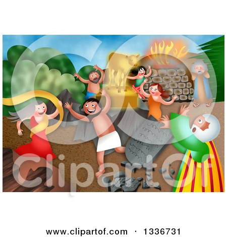 Clipart of a Shavout Scene of Children of Israel Worshipping the Golden Calf While Moses Breaks the Tablets - Royalty Free Illustration by Prawny