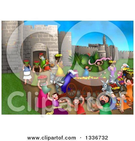 Clipart of a Shavout Scene of People Bringing First Fruits and Laying Them on the Steps of the Temple in Jerusalem for the Feast of Weeks - Royalty Free Illustration by Prawny