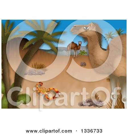 Clipart of a Desert Scene with a Scorpion and Camels by Palm Trees - Royalty Free Illustration by Prawny