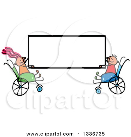Clipart of a Doodled Disabled Caucasian Boy and Girl in Wheelchairs, Holding a Blank Sign - Royalty Free Vector Illustration by Prawny