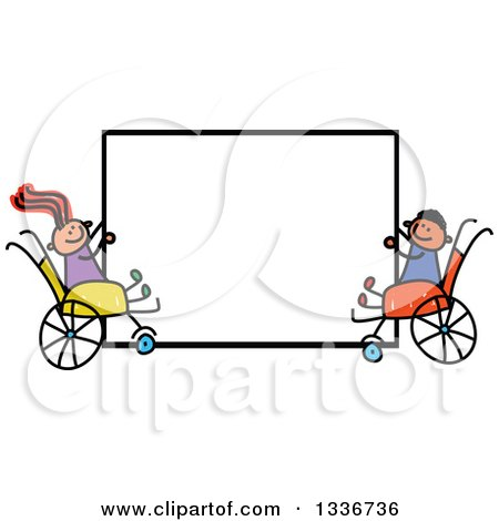 Clipart of a Doodled Disabled Boy and Girl in Wheelchairs, Holding a Blank Sign - Royalty Free Vector Illustration by Prawny