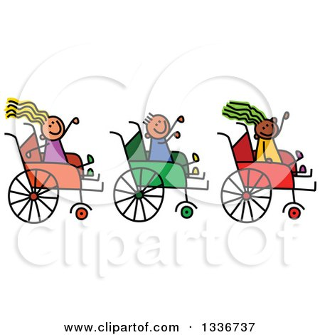Clipart of a Doodled Disabled Boy and Girls Waving and Playing in Wheelchairs - Royalty Free Vector Illustration by Prawny