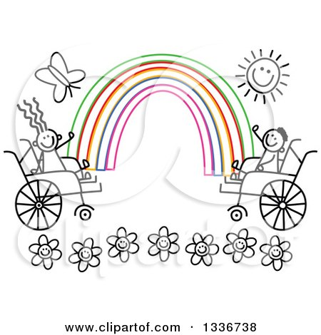 Clipart of a Doodled Black and White Disabled Boy and Girl in Wheelchairs, Waving at the Ends of a Colorful Rainbow, with a Happy Sun and Butterfly over Flowers - Royalty Free Vector Illustration by Prawny