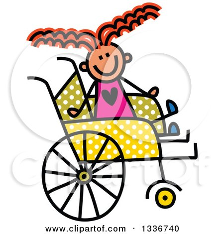 Clipart of a Doodled Disabled Red Haired Caucasian Girl in a Polka Dot Wheelchair - Royalty Free Vector Illustration by Prawny