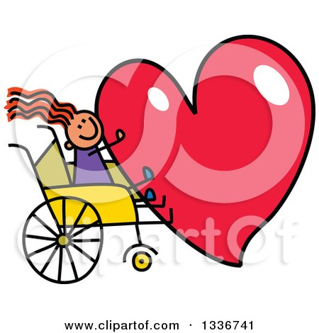 Clipart of a Doodled Disabled Red Haired Caucasian Girl in a Wheelchair, Holding a Giant Red Heart - Royalty Free Vector Illustration by Prawny