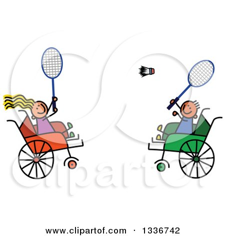Clipart of a Doodled Disabled Boy and Girl Playing Badminton in Wheelchairs - Royalty Free Vector Illustration by Prawny