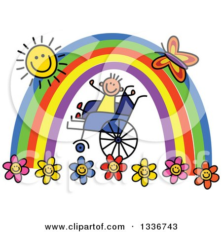 Clipart of a Doodled Disabled Boy in a Wheelchair, Cheering Under a Rainbow and Happy Sun with a Butterfly and Flowers - Royalty Free Vector Illustration by Prawny
