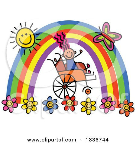 Clipart of a Doodled Disabled Girl in a Wheelchair, Cheering Under a Rainbow and Happy Sun with a Butterfly and Flowers - Royalty Free Vector Illustration by Prawny