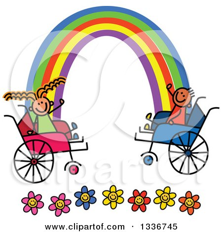 Clipart of a Doodled Disabled Boy and Girl in Wheelchairs, Waving at Ends of the Rainbow over Flowers - Royalty Free Vector Illustration by Prawny