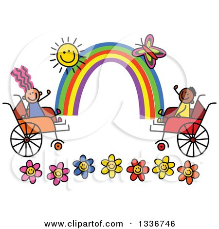 Clipart of a Doodled Disabled Boy and Girl Playing over Flowers, with a Rainbow, Butterfly and Sun in Wheelchairs - Royalty Free Vector Illustration by Prawny