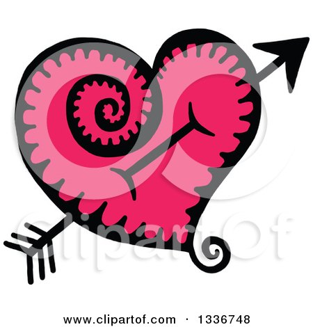 Clipart of a Sketched Doodle of Cupids Arrow Through a Pink Heart with a Spiral Tail - Royalty Free Vector Illustration by Prawny